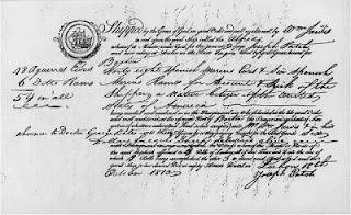 Certificado de autenticidad de merinas embarcadas en Lisboa con destino a América del Norte. 1810
