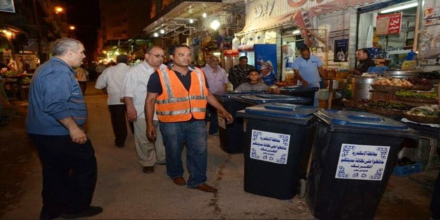 توزيع صناديق القمامة على محلات سوق شيديا بالابراهيمية
