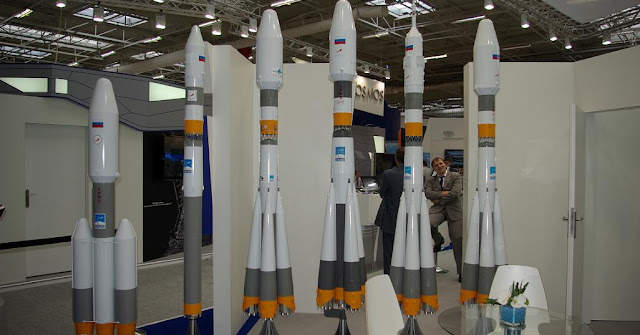 The Soyuz-5 rocket family scale models on display at the Paris Air and Space Show in Le Bourget, France in June 2013. Photo Credit: Nicolas Pillet