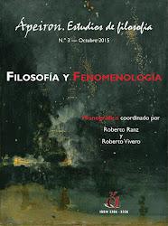 """Coordinación del monográfico """"Filosofía y Fenomenología"""" (Ápeiron. Estudios de filosofía)"""