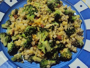 broccoli mung and barley ...making a nice one pot meal...