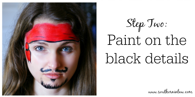 Southern in law diy four easy halloween face painting tutorials pirate face paint step two paint on the black details solutioingenieria Choice Image