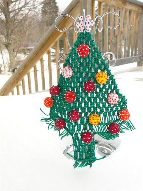 Christmas Tree Crochet Beads Mixed Media by Ukrainian American Artist Daria Iwasko