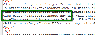 Code to add drop shadow to image in blogger