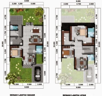 Desain Denah Rumah Minimalis Type 70, Sketsa Rumah 2 Lantai