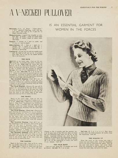 Free 1940's Knitting - A V-necked Pullover Land Girl Jumper pattern