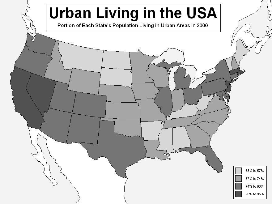 Map Catalog: Choropleth Map - Urban percentage