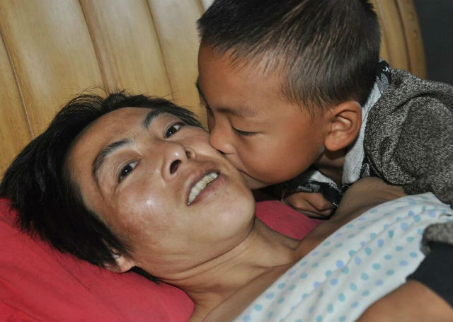7-year-old boy takes care dad
