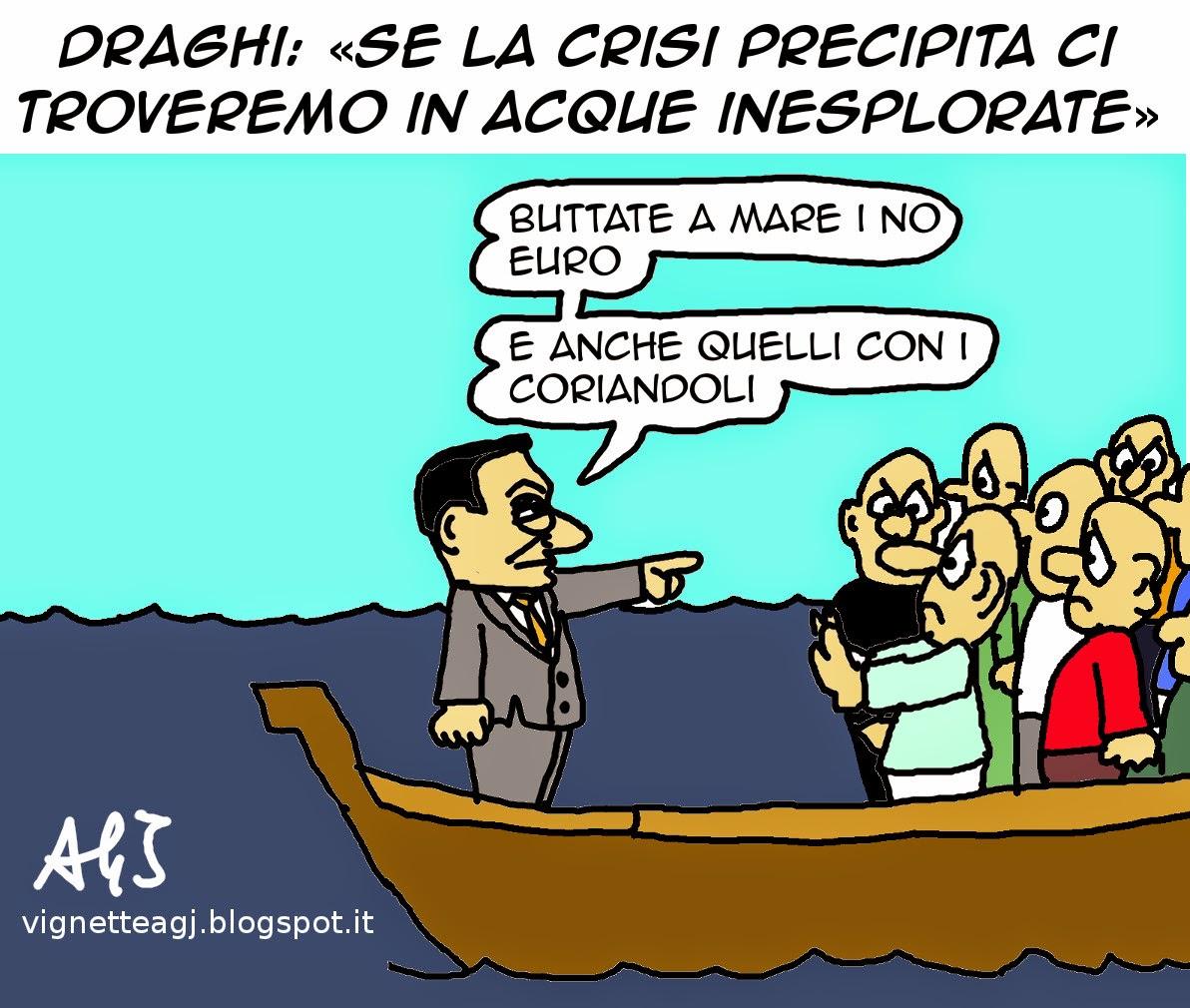 draghi, crisi, eurozona, euro, satira, vignetta