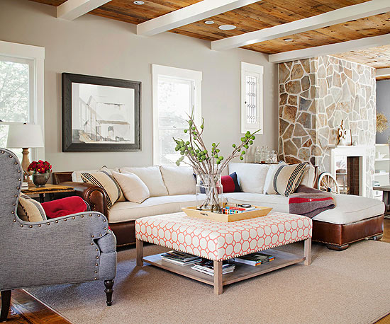 Good A Large Sectional Helps Define The Living Room Area In This Open Living And  Dining Space. The Mix Of Leather And Linen Upholstery Turns A Basic  Sectional ... Nice Look
