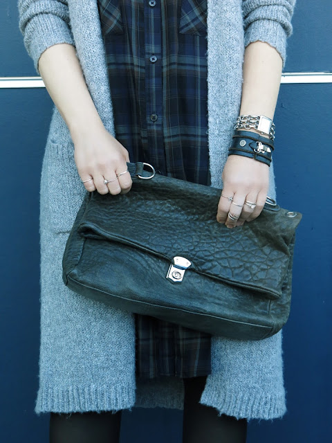plaid shirtdress, long cardigan, leather satchel, and accessories