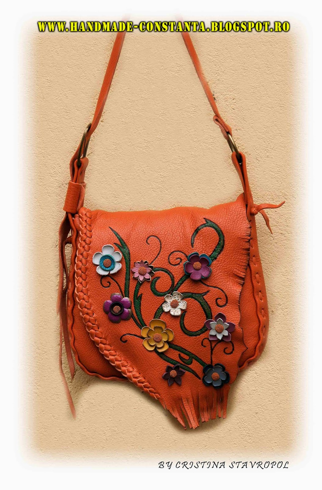 Orange bag with spring flowers