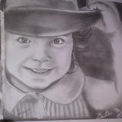 رسم طفلة بالرصاص