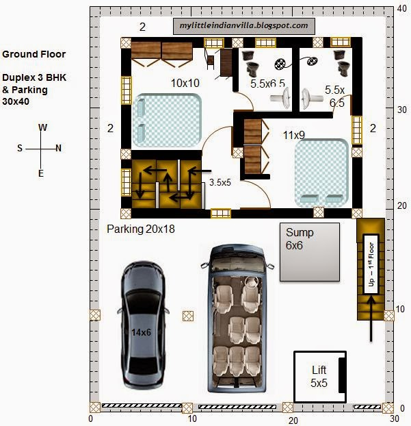 My little indian villa 57 r50 2 duplex 3bhk in 30x40 for 30x40 duplex house floor plans
