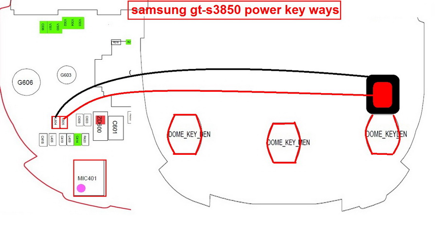 Samsung S3850 Power Button Jumper Ways