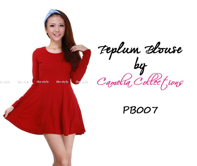 cotton peplum blouse maroon