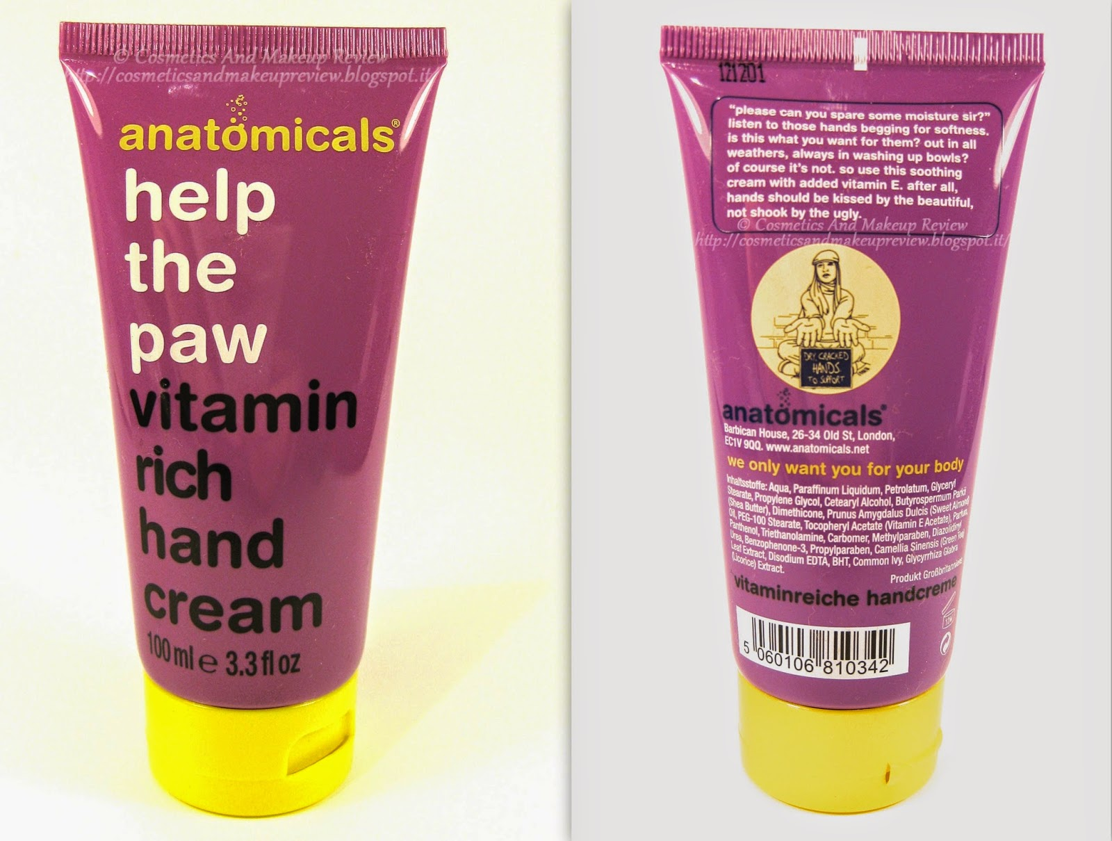Anatomicals - Help the paw - Vitamin rich hand cream (crema mani) - packaging