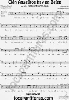 Partitura de Cien Angelitos para Trombón, Tuba Elicón y Bombardino  Sheet Music for Trombone, Tube, Euphonium Music Scores