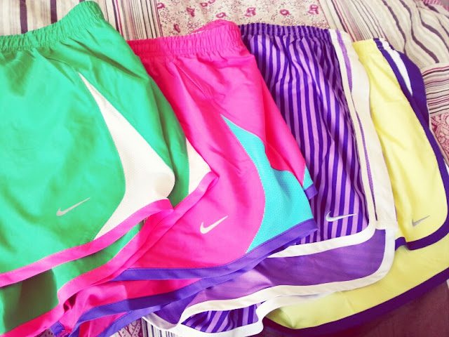 nike shorts, colorful