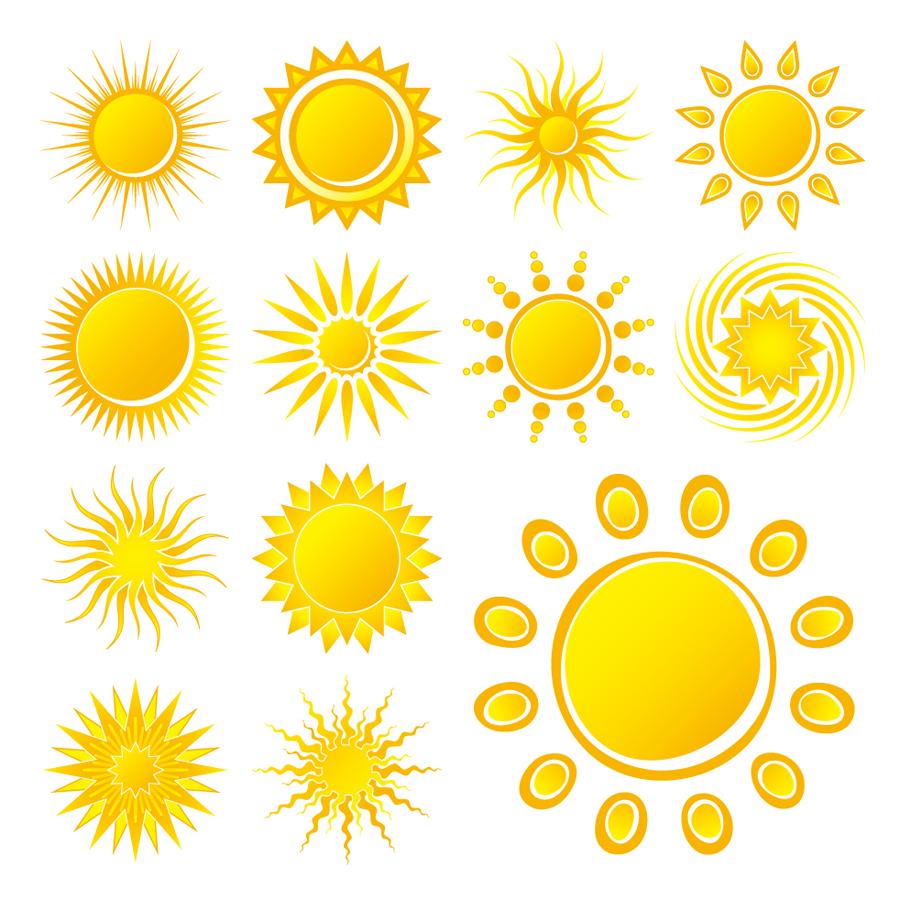 輝く太陽のアイコン practical sun icon イラスト素材3