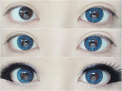 Dolly Eye Crystal I Blue colored contacts