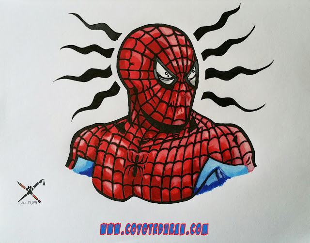Spider-Man art, ink sketch in sketchbook, completed in Prismacolor and Copic art markers and Prismacolor watercolor pencils