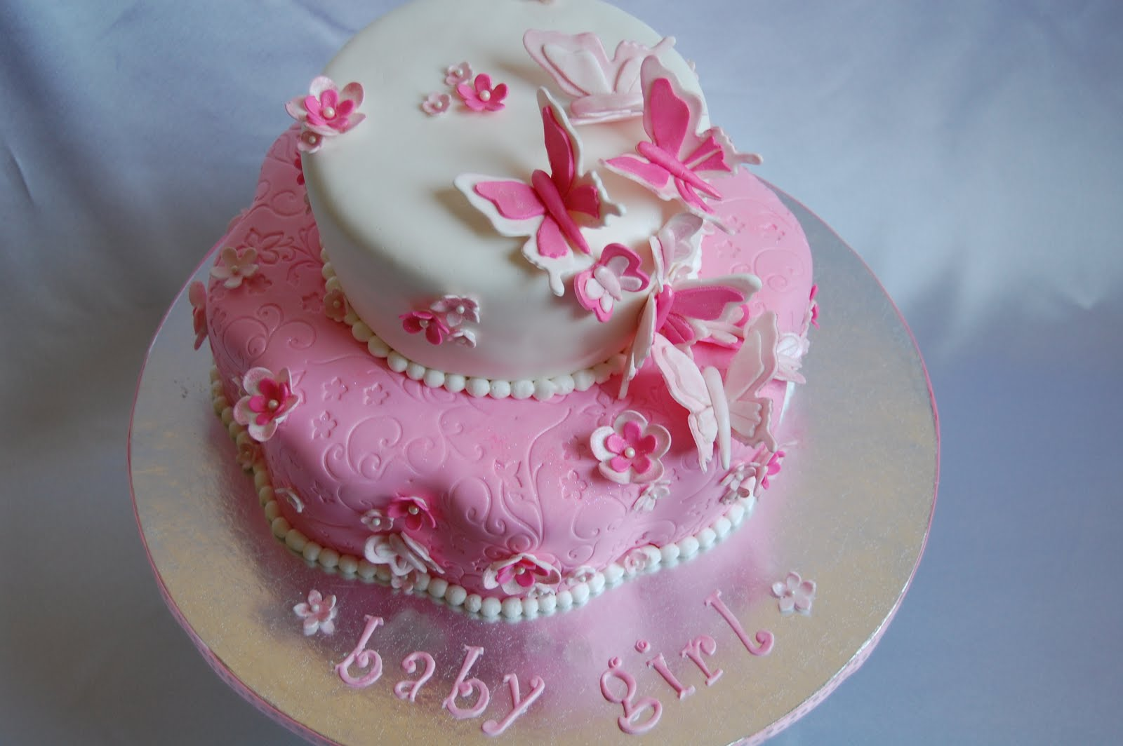 cakes by jen pink and white butterflies and flowers baby shower cake