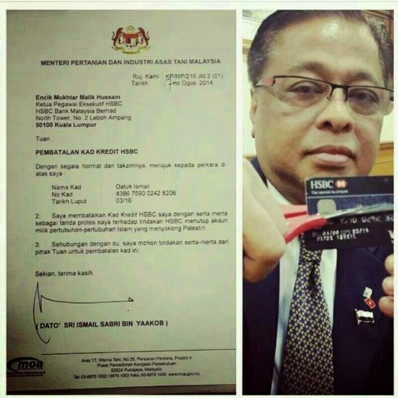 Menteri Potong Kad Kredit HSBC Tanda Protes