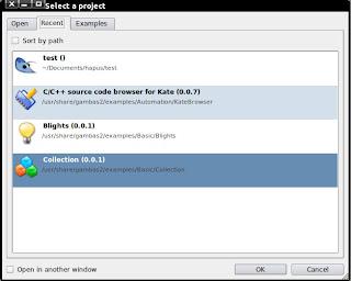 screenshot Dialog select a project gambas2 - recent