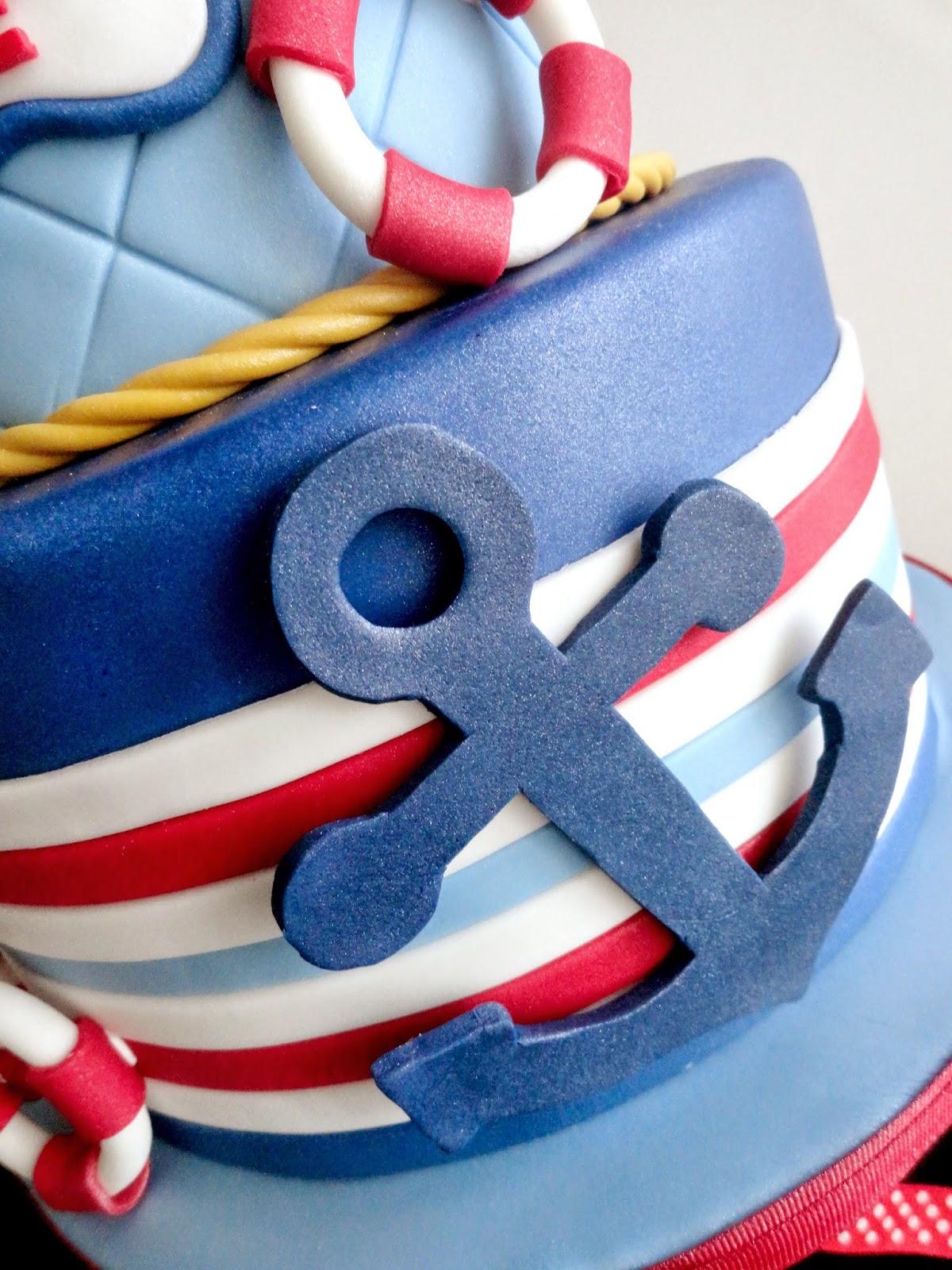 Pink Little Cake Nautical Theme 1st Birthday Cake