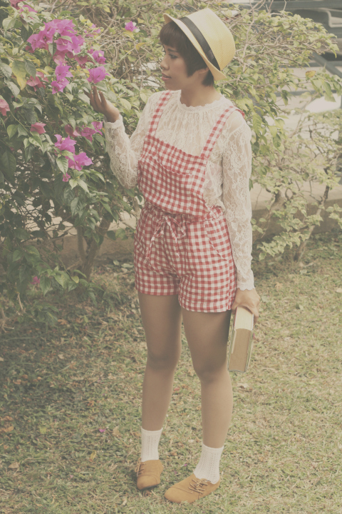 gingham dungarees, lace blouse, vintage shoes, lace socks, dresslink, style blogger
