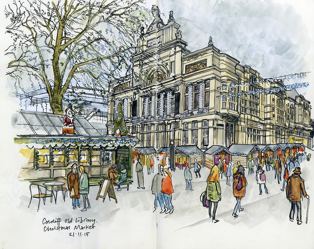 Cardiff Old Library And Christmas Market