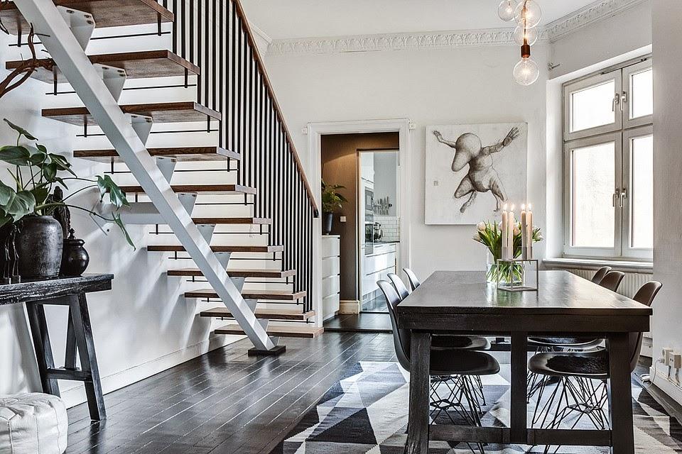 amenajari, interioare, decoratiuni, decor, design interior, duplex, apartament 5 camere, stil scandinav, scara, sufragerie