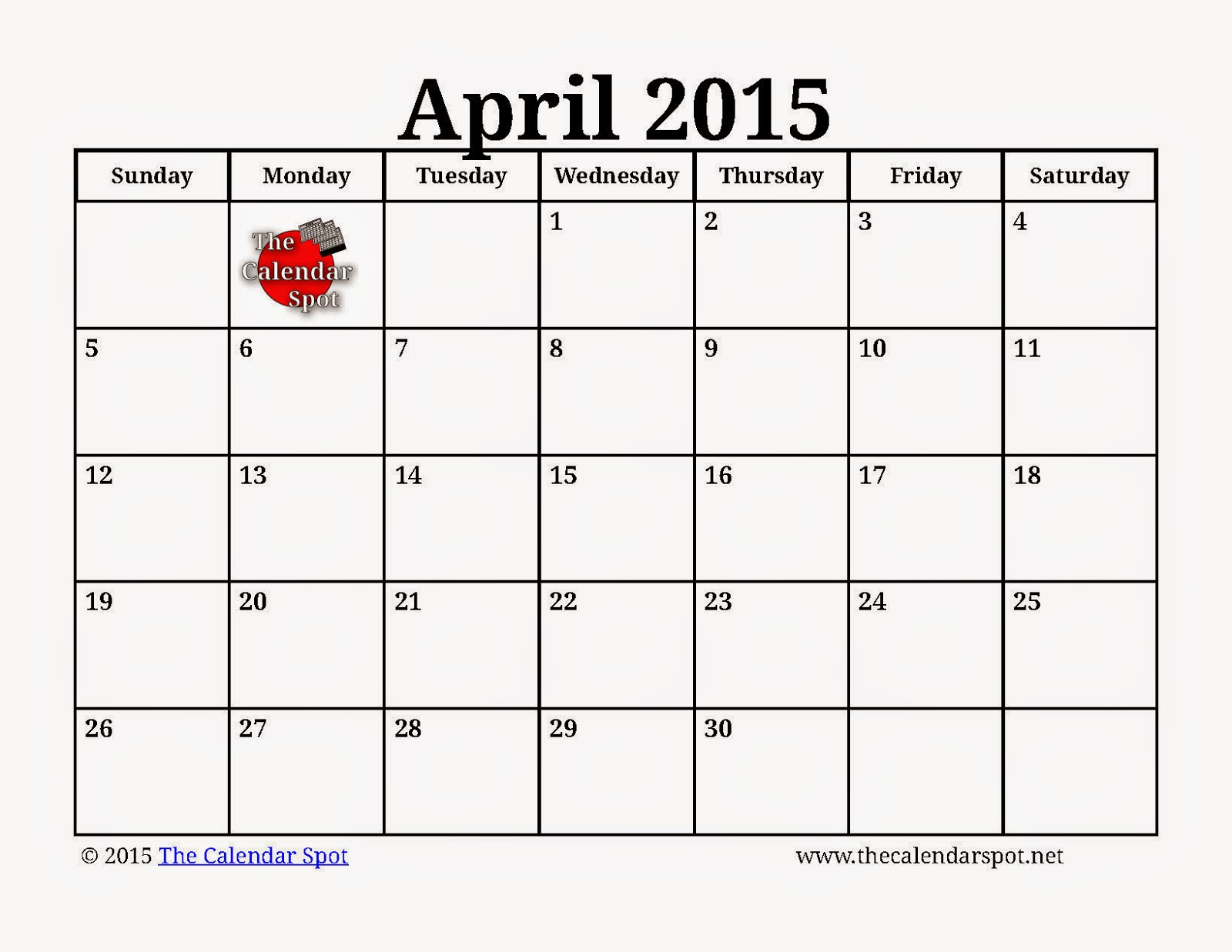 Calendar For April Printable : Free printable calendar april