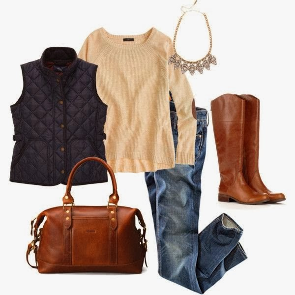 Black sleeveless coat, creamy sweater, jeans and long brown boots combination for fall