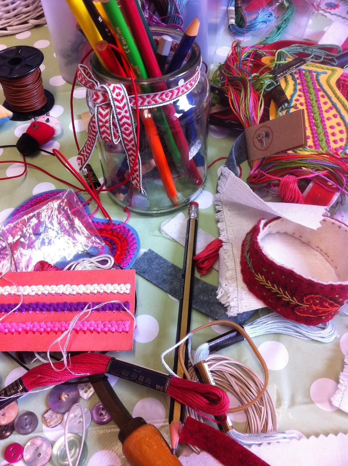 Emboidery class, felt bracelets