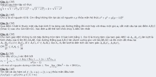 đề thi olympic 30-4 môn toán 2011