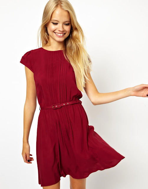 red pintuck dress
