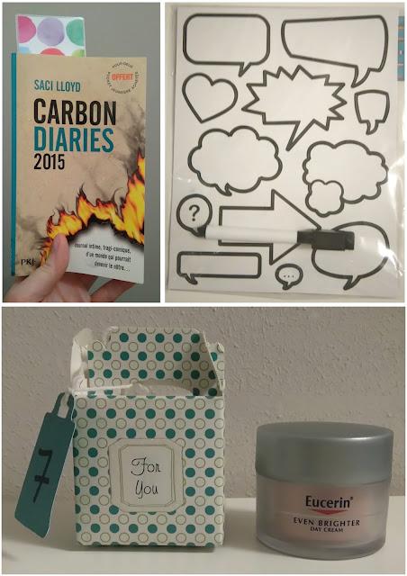 swap de l'avent, lecture, livre, carbon diaries 2015, stickers, eucerin, bullelodie