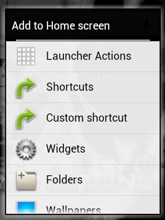 Cyanmobile Add to Home Screen Menu
