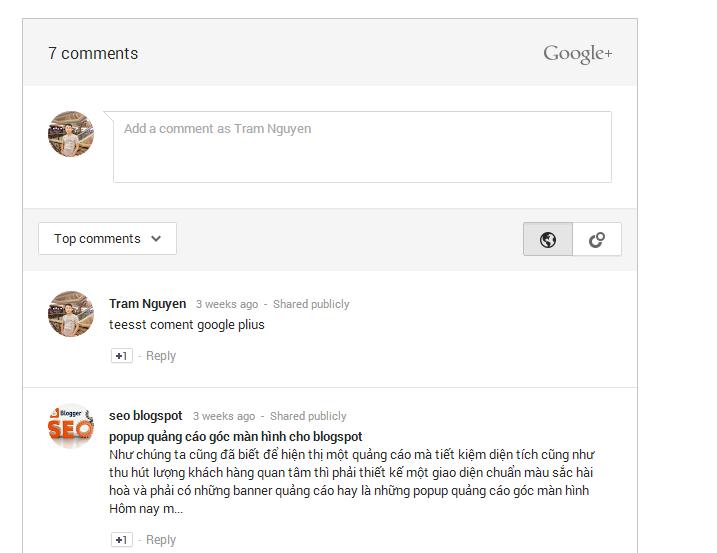 thêm comment google plus cho blogpsot