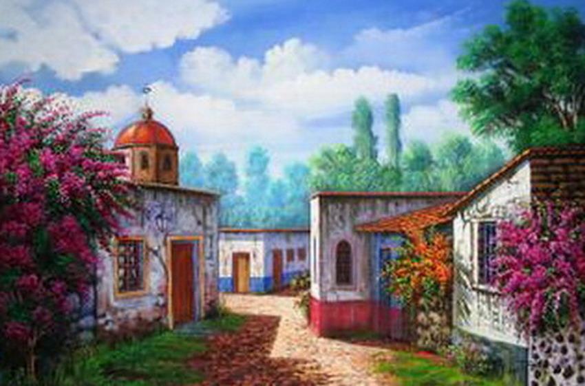 Im genes arte pinturas paisajes de casas antiguas pinturas - Paisajes de casas ...