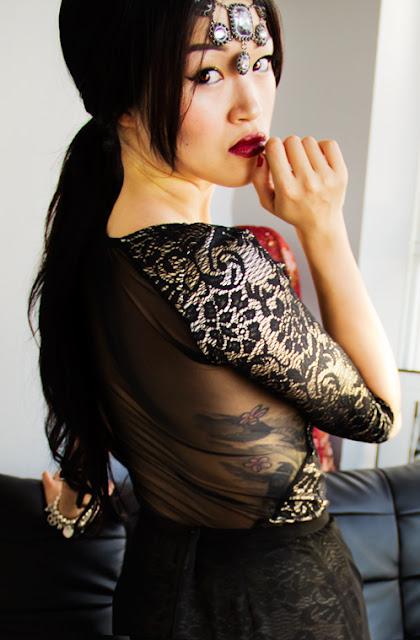 Vintage inspired dress, Cheap Monday sheer maxi skirt, vintage necklace head dress, red lips, gold studded vintage heels