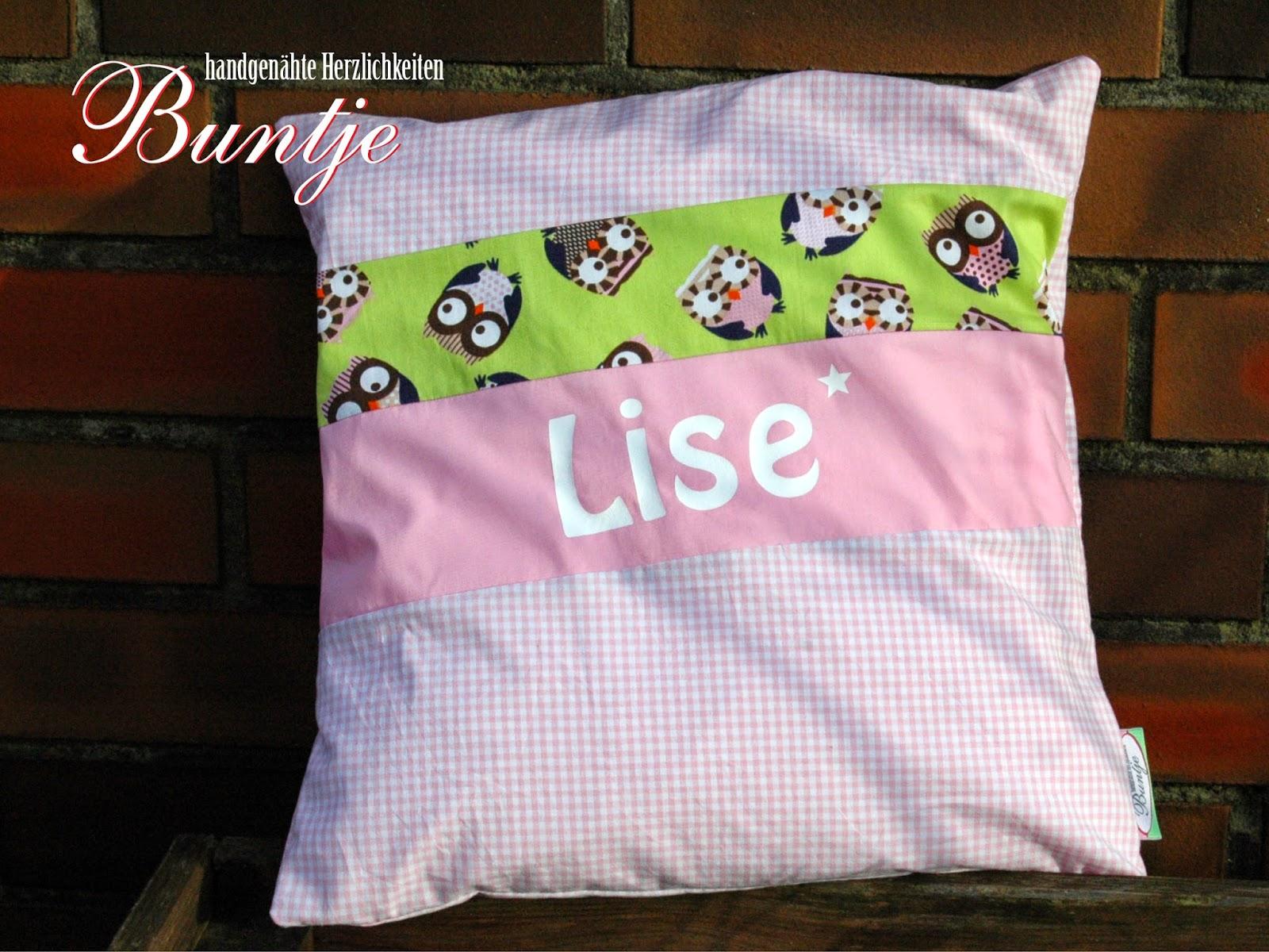 Namenskissen Kissen Name Geschenk Kind Baby Geburt Taufe 1. Geburtstag Baumwolle Mädchen rosa grün Eulen Karo Vichy Lise handmade nähen Buntje