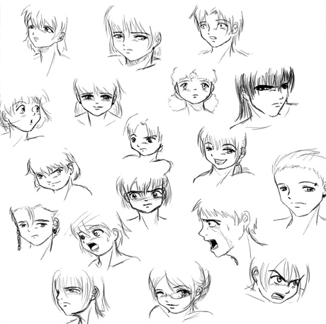 anime haircuts. anime hairstyles drawing.