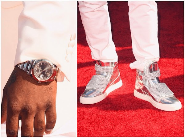 Jason Derulo wears silver Giuseppe Zanotti sneakers and Rolex Oyster Perpetual calendar watch to 2014 MTV VMAs.jpg
