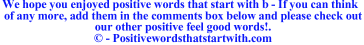 Image of Positive words that start with b