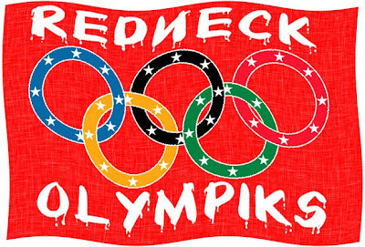 An olympic flag modified to reflect a confederate flag, complete with misspellings