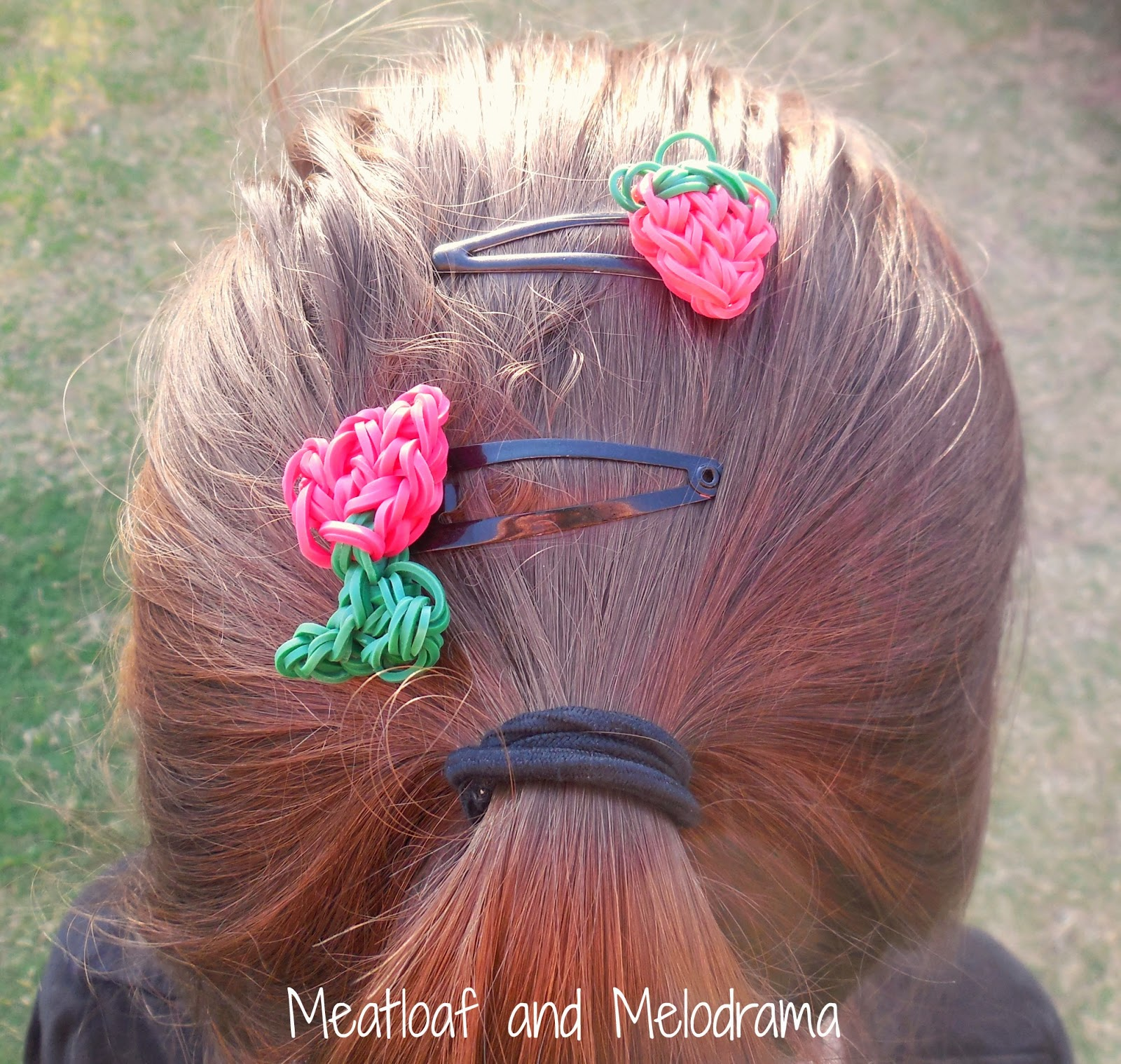 rainbow loom hair clips