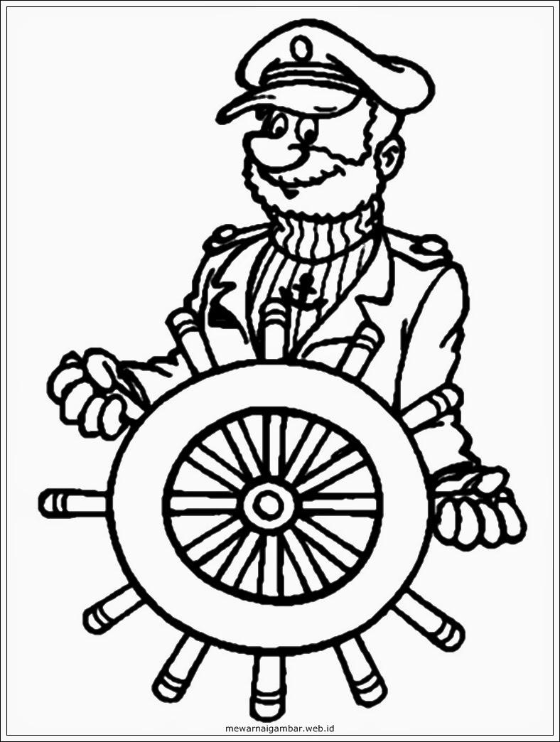 mewarnai gambar kapten kapal